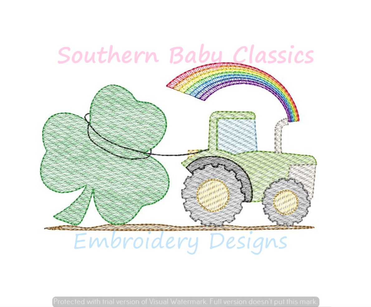 Clover Rainbow Shamrock St. Patrick's Day Tractor Farm Light Sketchy Fill Machine Embroidery