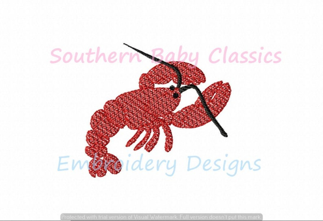 Lobster Light Sketchy Fill Machine Embroidery Summer