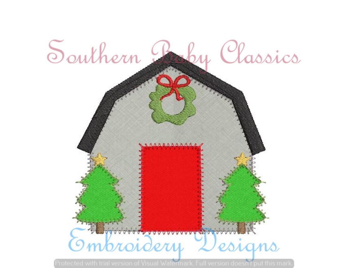 Christmas Barn Blanket Stitch Applique Machine Embroidery Fill