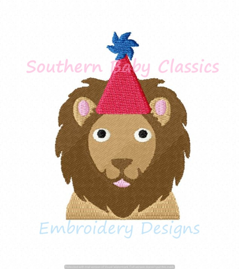 Birthday Lion Machine Embroidery Design Mini Animal First Baby Boy Girl Hat Party