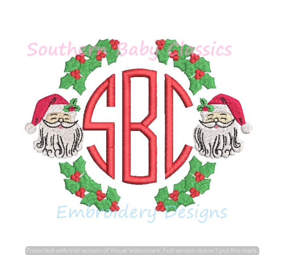 Santa Claus Holly Monogram Frame Christmas Full Fill Machine Embroidery Design Clause Boy Girl