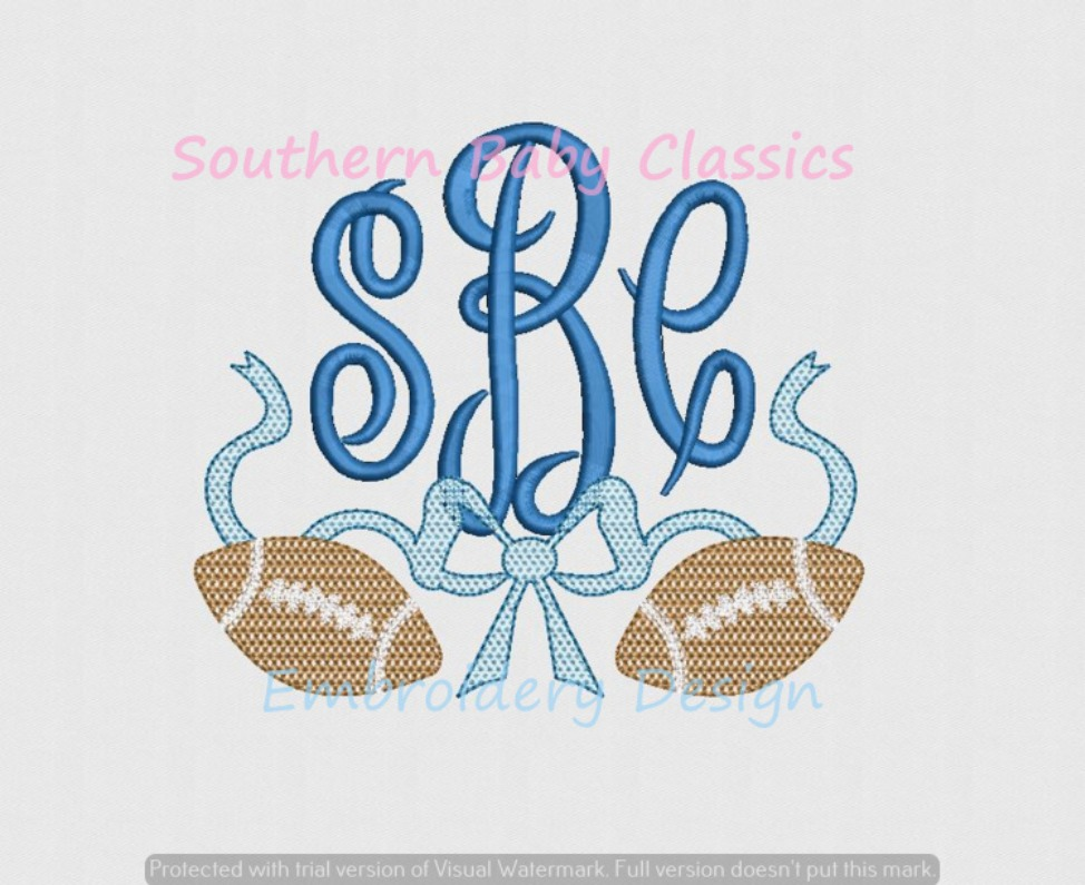 Chic Filled Football Bow Monogram Swag Ribbon Machine Embroidery Design