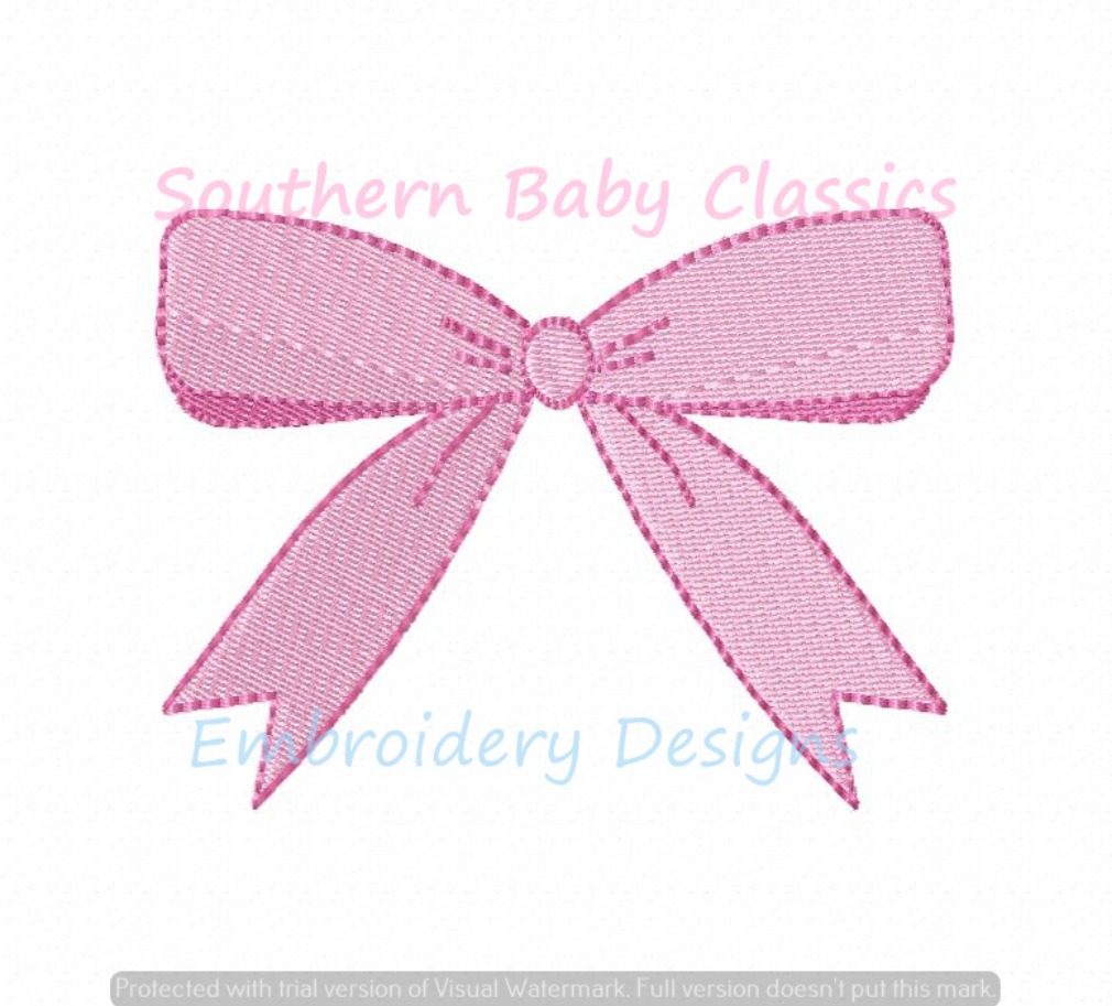 Bow Ribbon Mini Fill With Outline Machine Embroidery Design Baby Girl Cute Preppy