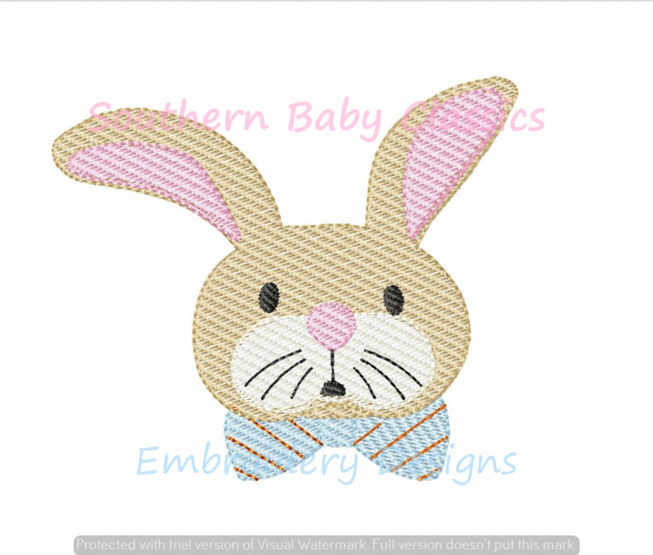 Bow Tie Wearing Bunny Rabbit Easter Light Sketchy Fill Machine Embroidery Design Preppy Boy