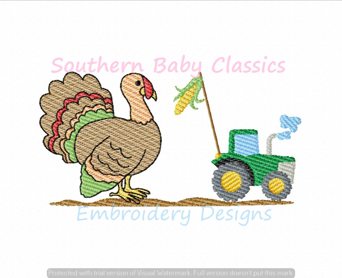 Big Thanksgiving Turkey Corn Tractor Light Sketchy Fill Machine Embroidery Design