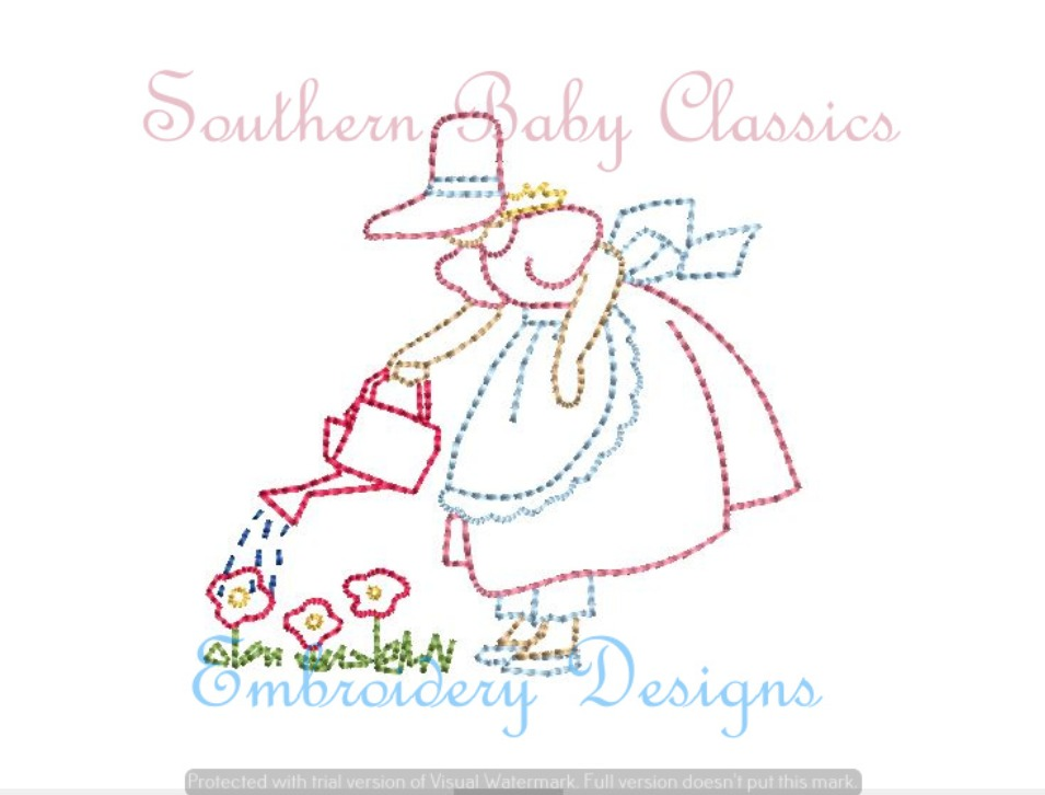 Mary Quite Contrary Garden Grow Vintage Stitch Machine Embroidery Design