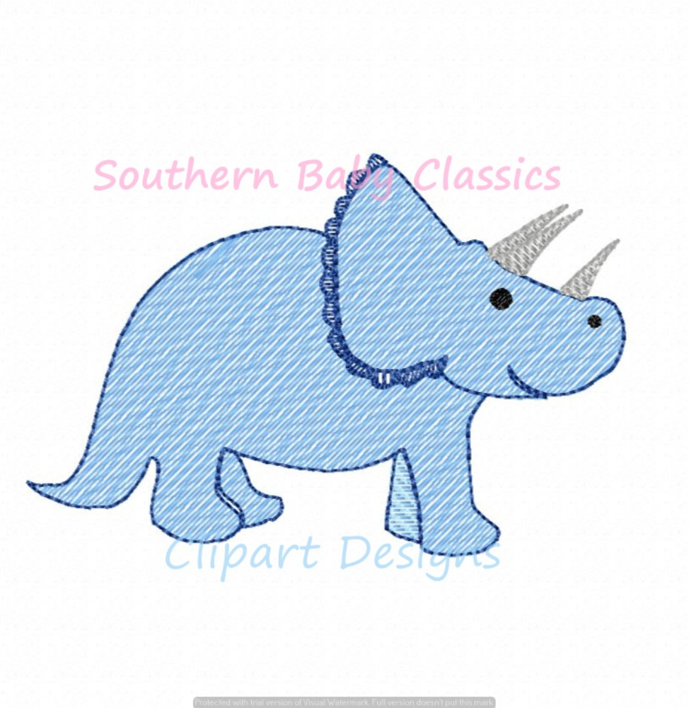 Triceratops Dinosaur Light Sketchy Fill Machine Embroidery Design Quick Stitch