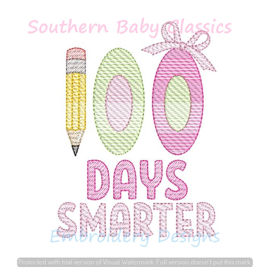 100 Days Smarter Bow Girl 100th Day of School Light Fill Sketchy Machine Embroidery Design