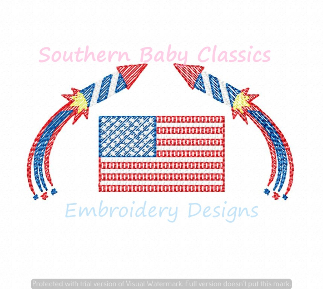 American Flag Fireworks Fourth of July Patriotic Sketchy Fill Machine Embroidery Design