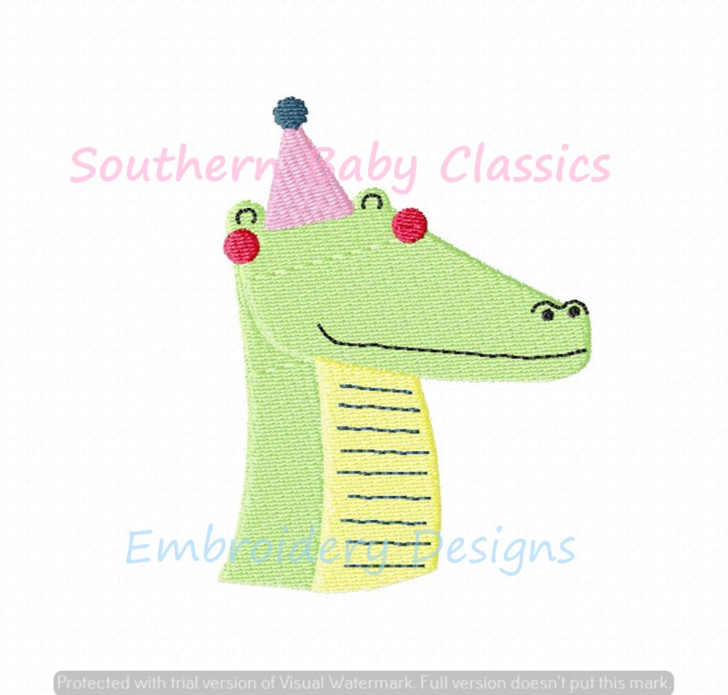Birthday Party Hat Alligator Mini Fill Machine Embroidery Design First Zoo Boy Girl