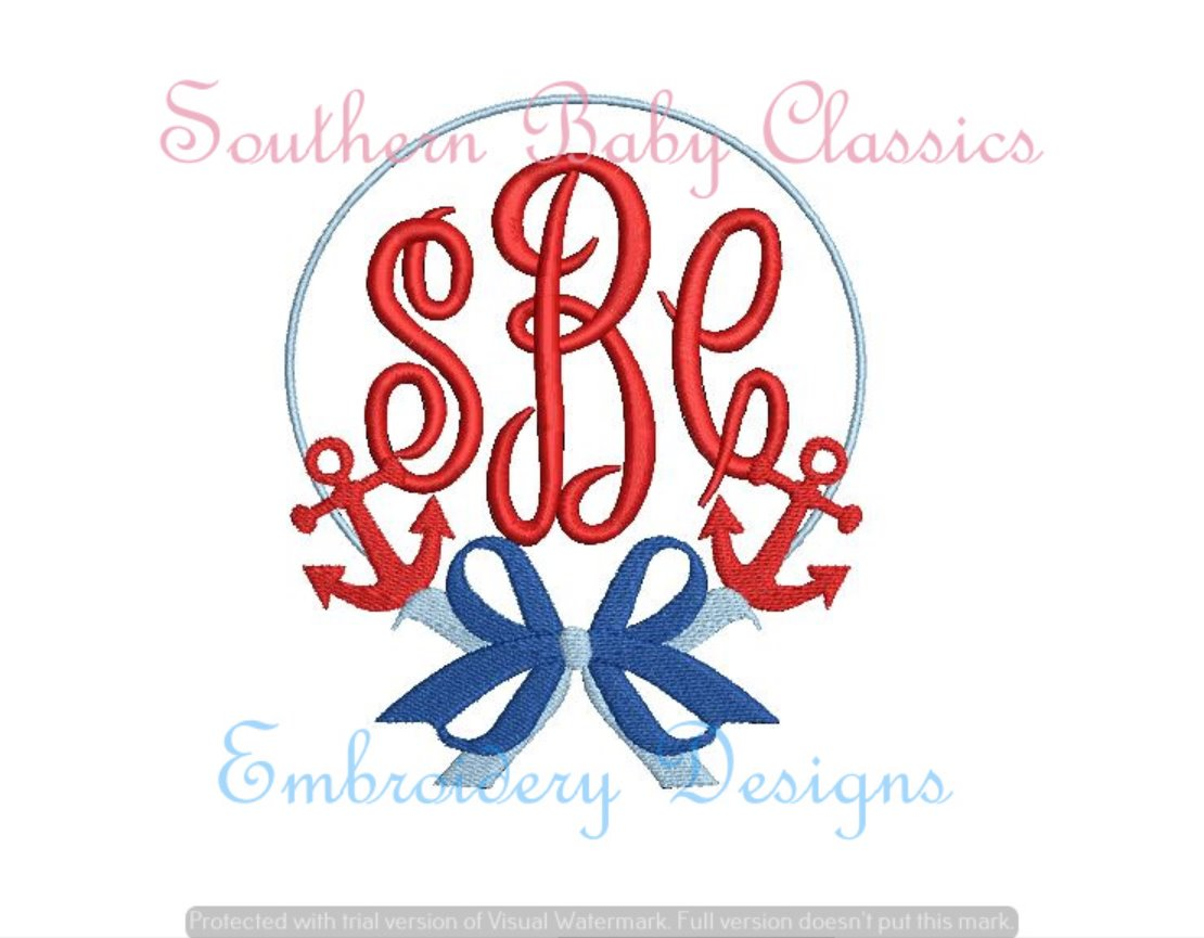 Anchor Bow Fill Monogram Frame Machine Embroidery Summer
