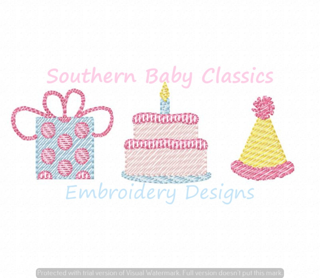 Birthday Party Trio Sketchy Machine Embroidery Design Present Cake Candle Hat Boy Girl First
