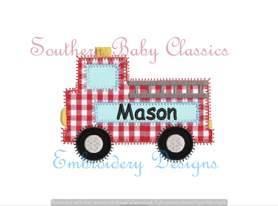 Fire Truck Zig Zag Applique Machine Embroidery Design Name Plate Frame