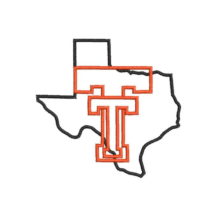 TT Texas Large State Silhouette Satin Outline Machine Embroidery Design