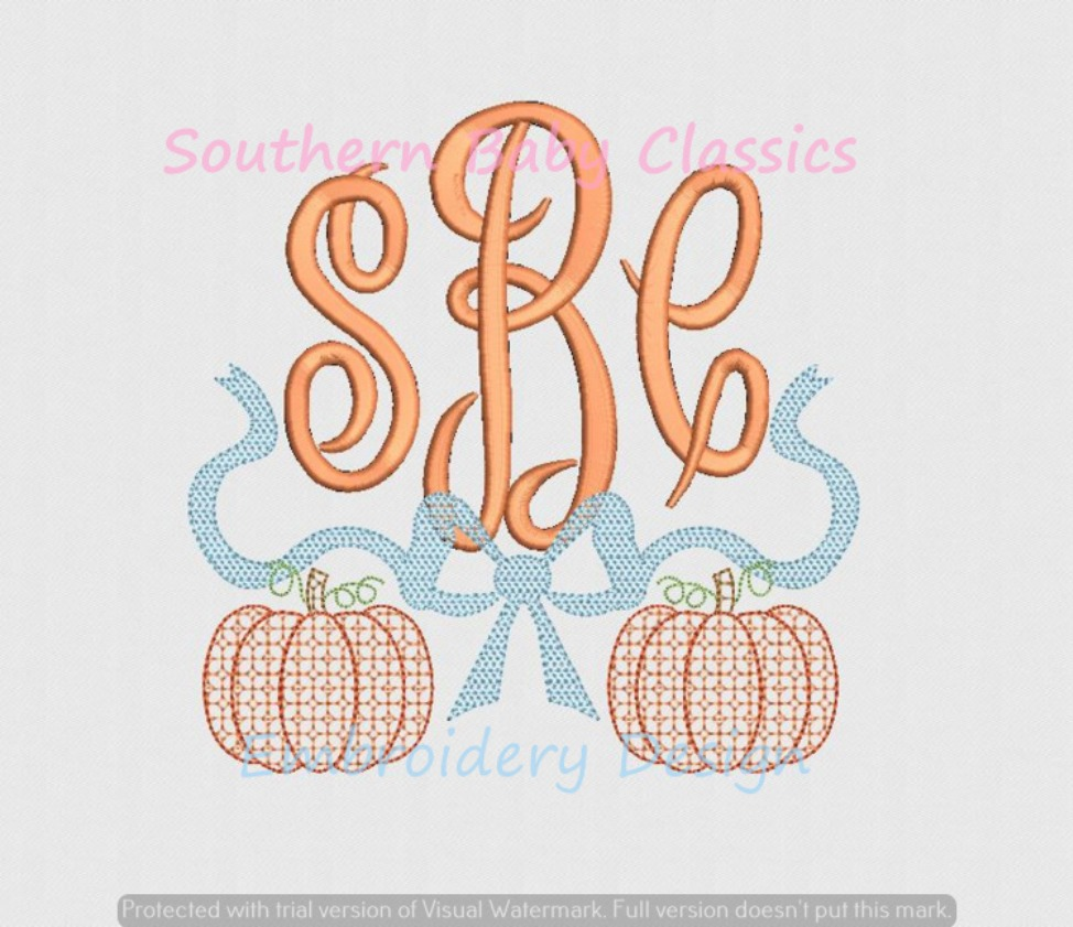 Chic Filled Pumpkin and Bow Swag Machine Embroidery Design Monogram Fall Autumn Halloween