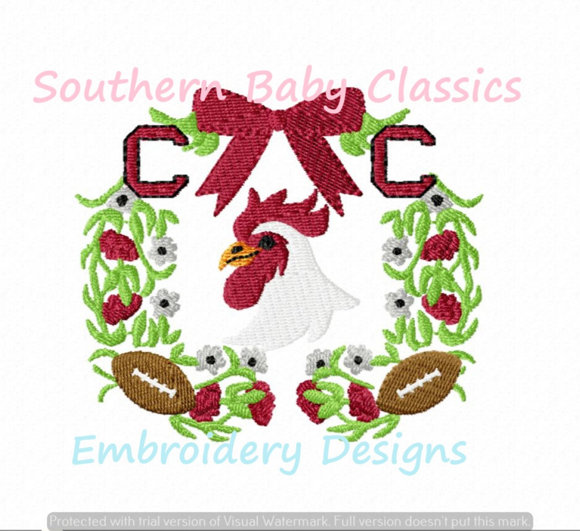 Gamecock Rooster Floral Monogram Frame Machine Embroidery Design Football Mascot