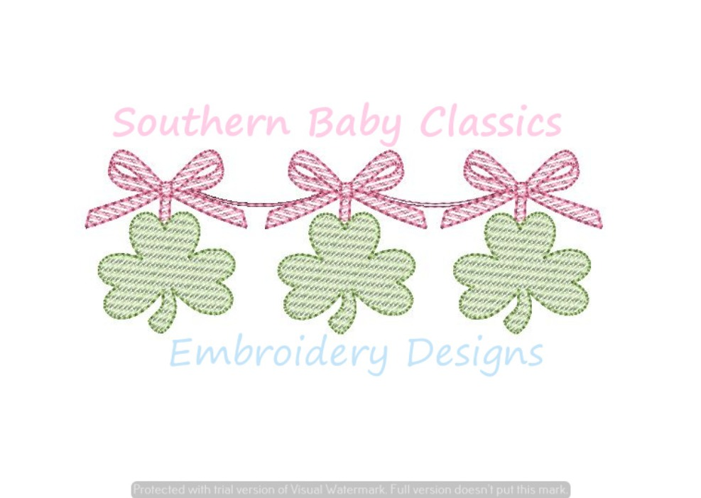 Shamrock Clovers Bows Trio Light Sketchy Fill Three St. Patrick's Day Embroidery Design Patrick