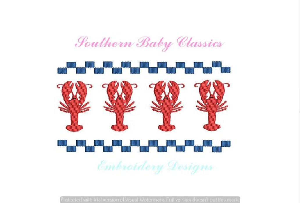 Lobster Row Faux Smock Smocking Machine Embroidery Design Summer Boy Girl