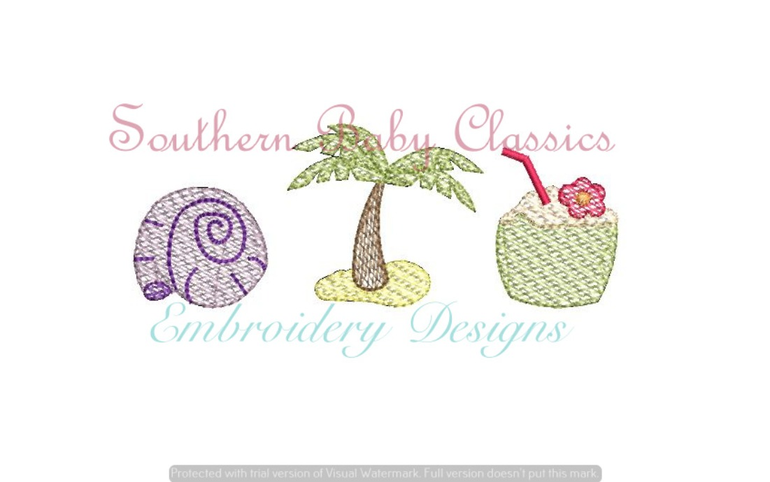 Beach Trio Sketchy Fill Machine Embroidery Design Palm Coconut Drink Shell