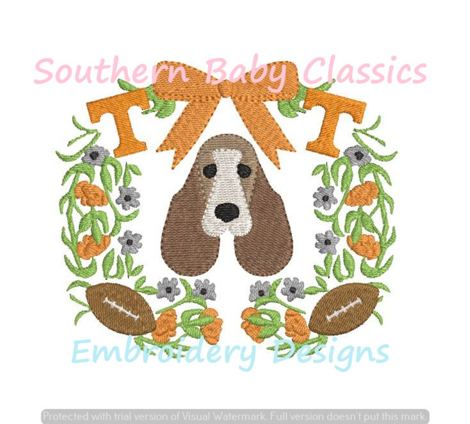 Hound Dog Tennessee Floral Monogram Frame Machine Embroidery Design Football Fall Vols