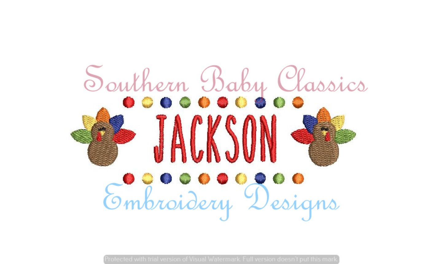 Turkey Name Plate Fill Machine Embroidery Thanksgiving