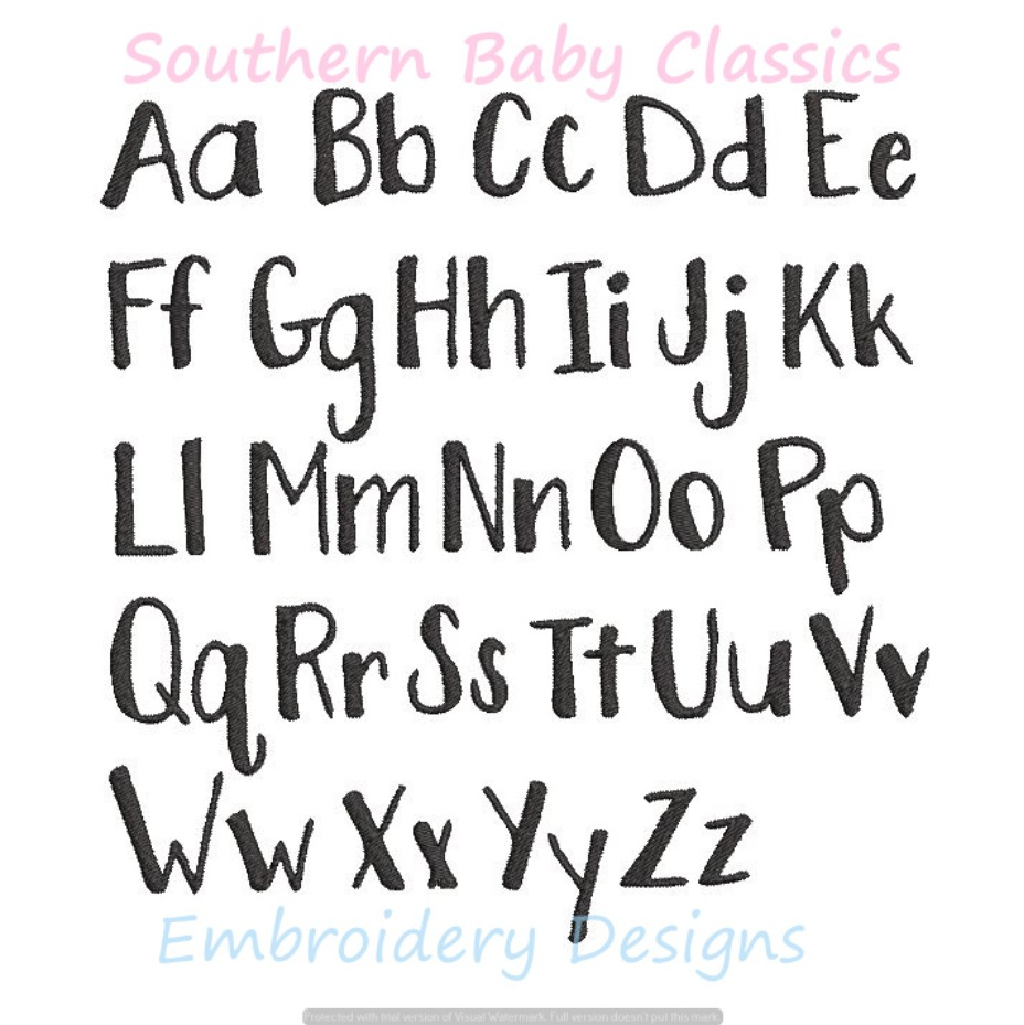 Font Hand Lettering Multiple Sizes 1, 3/4, 1/2 Inch Machine Embroidery Design Monogram