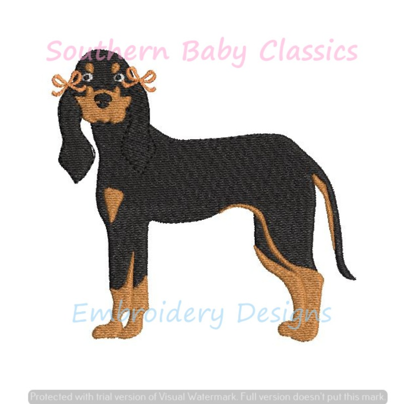 Hound Dog Girl With Bow Mini Fill Machine Embroidery Design Mascot Tennessee