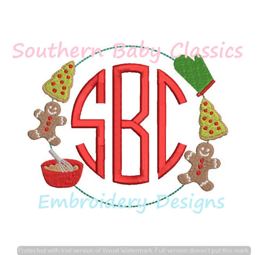 Christmas Cooking Cookie Monogram Frame Machine Embroidery Design Holiday