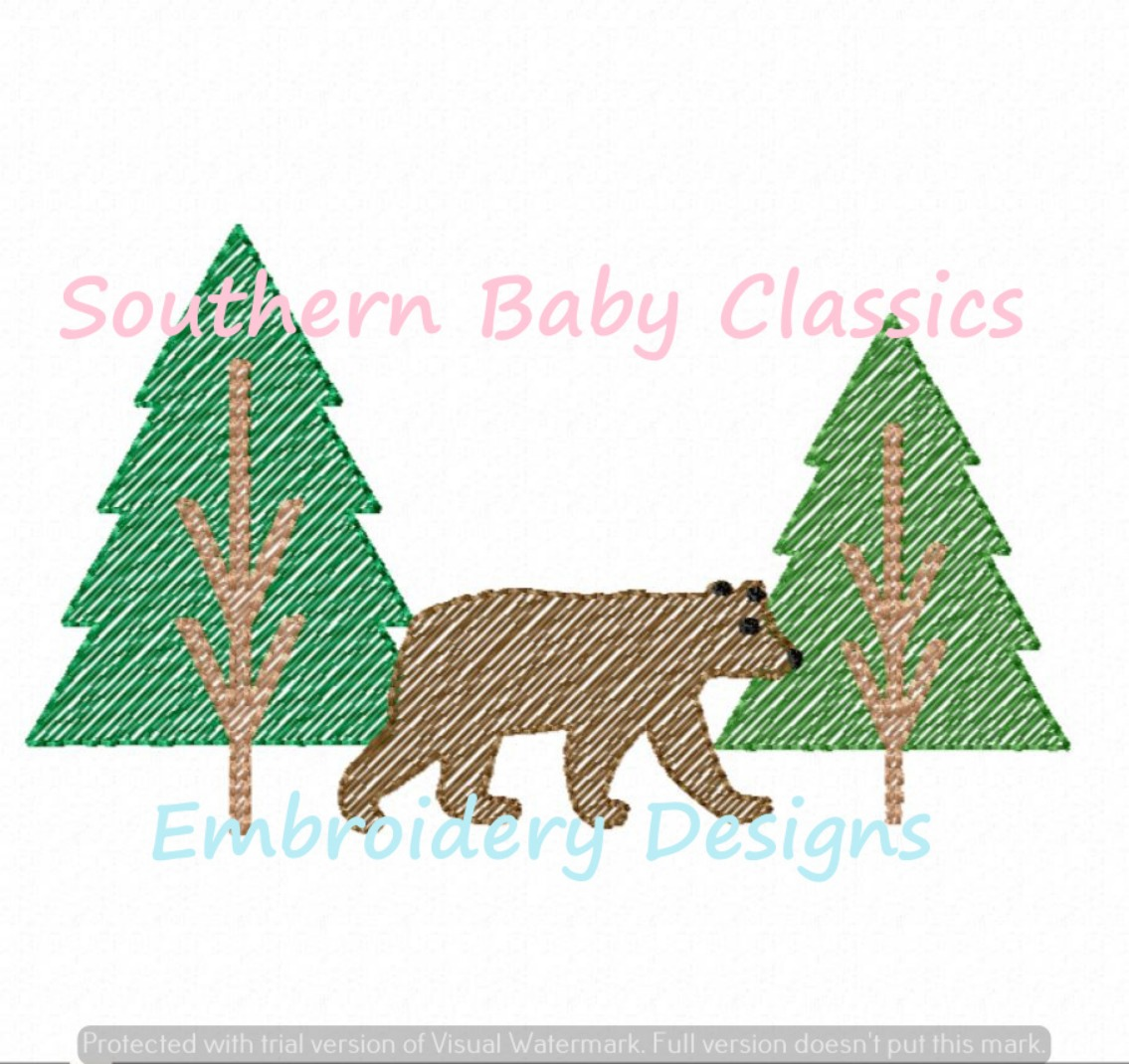 Bear in Woods Sketchy Fill Machine Embroidery Design Fall Winter Camping Forest