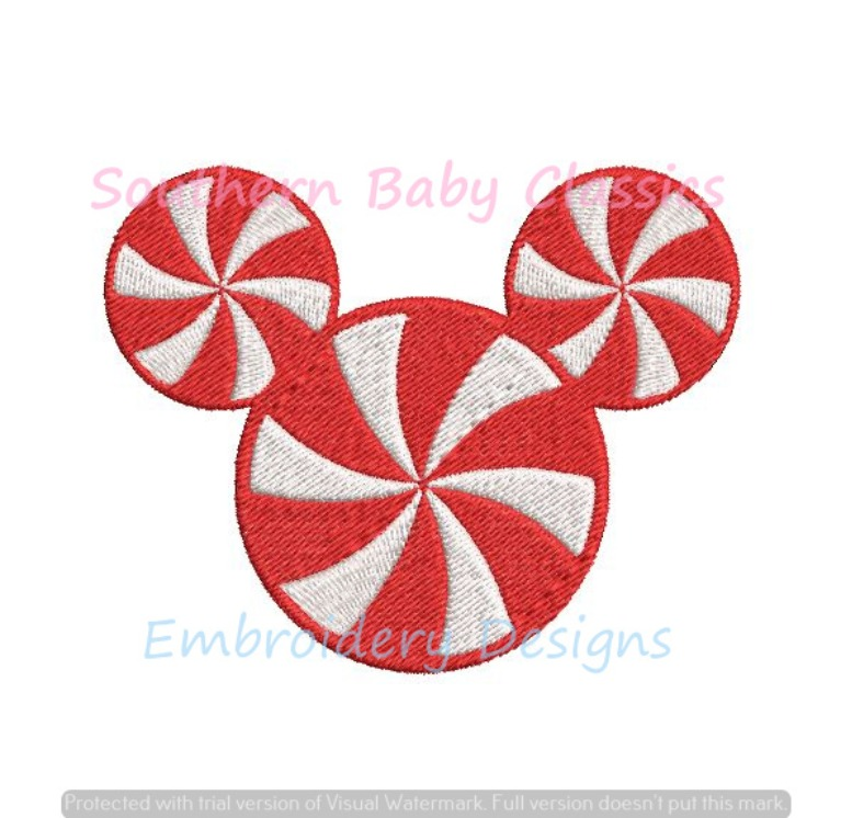 Christmas Candy Cane Stripe Stripes Mouse Boy Character Mini Fill Machine Embroidery Design