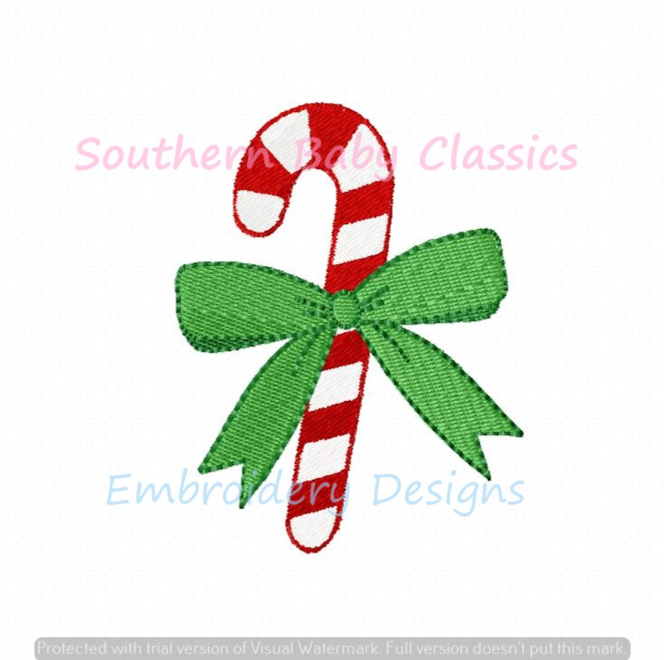 Candy Cane Bow Mini Fill Machine Embroidery Design Christmas Girl