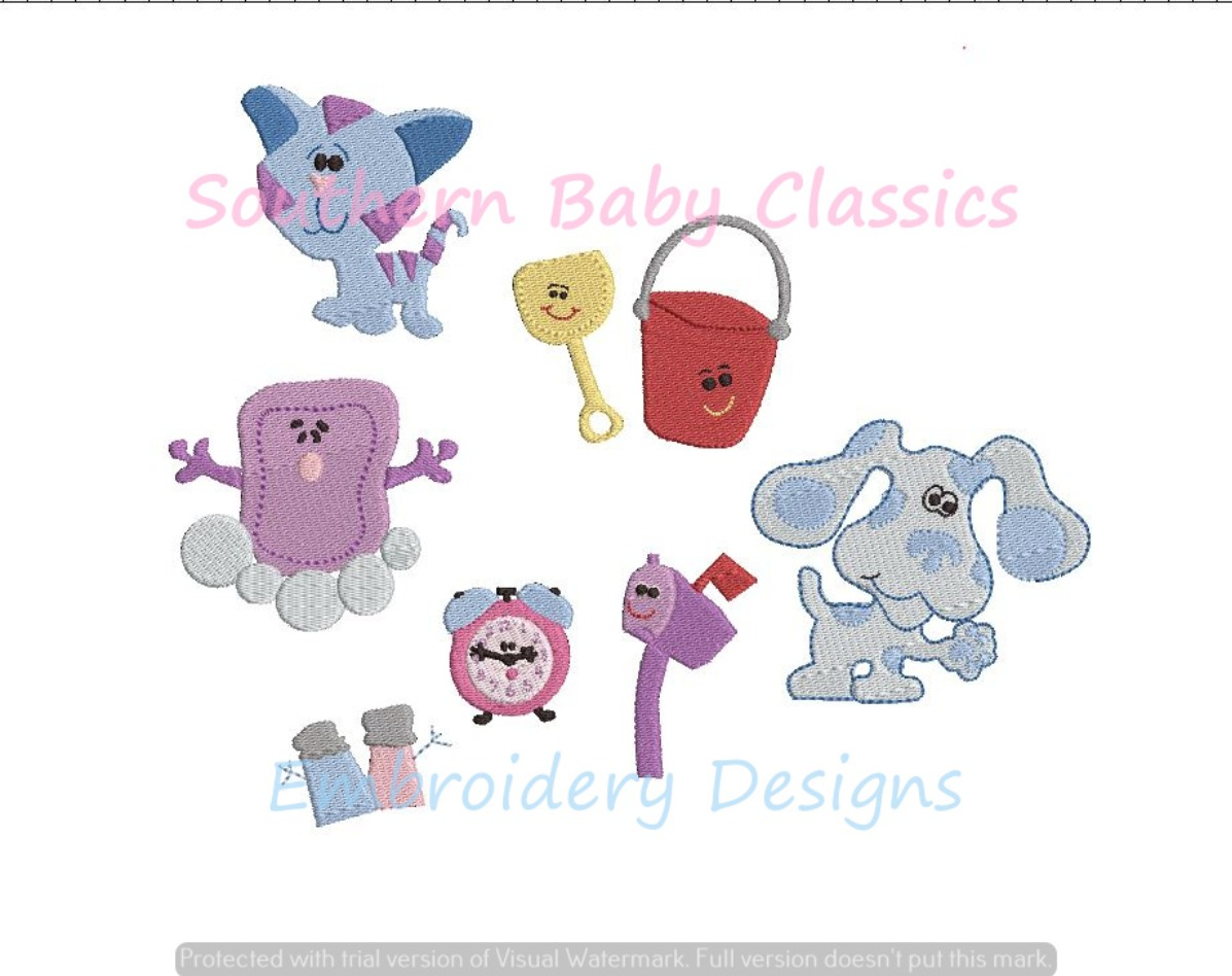 Blue Dog Character and Friends Build Your Own Set Machine Embroidery Design Clues Salt Pepper Cat