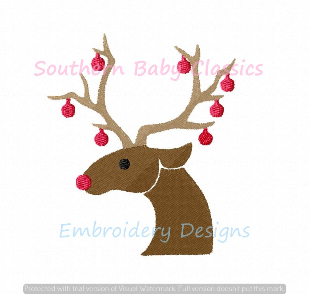 Reindeer Head With Christmas Ornaments Full Fill Machine Embroidery Design