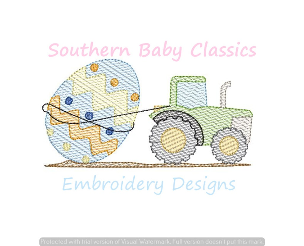 Easter Egg Tractor Farm Boy Sketchy Light Fill Machine Embroidery Design Spring Tractors