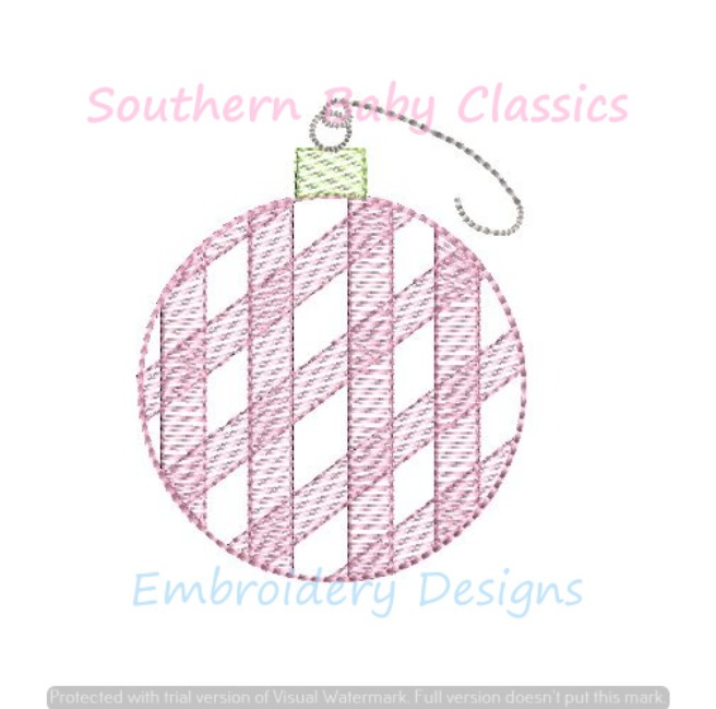 Gingham Christmas Ornament Ball Preppy Light Sketchy Fill Machine Embroidery Design