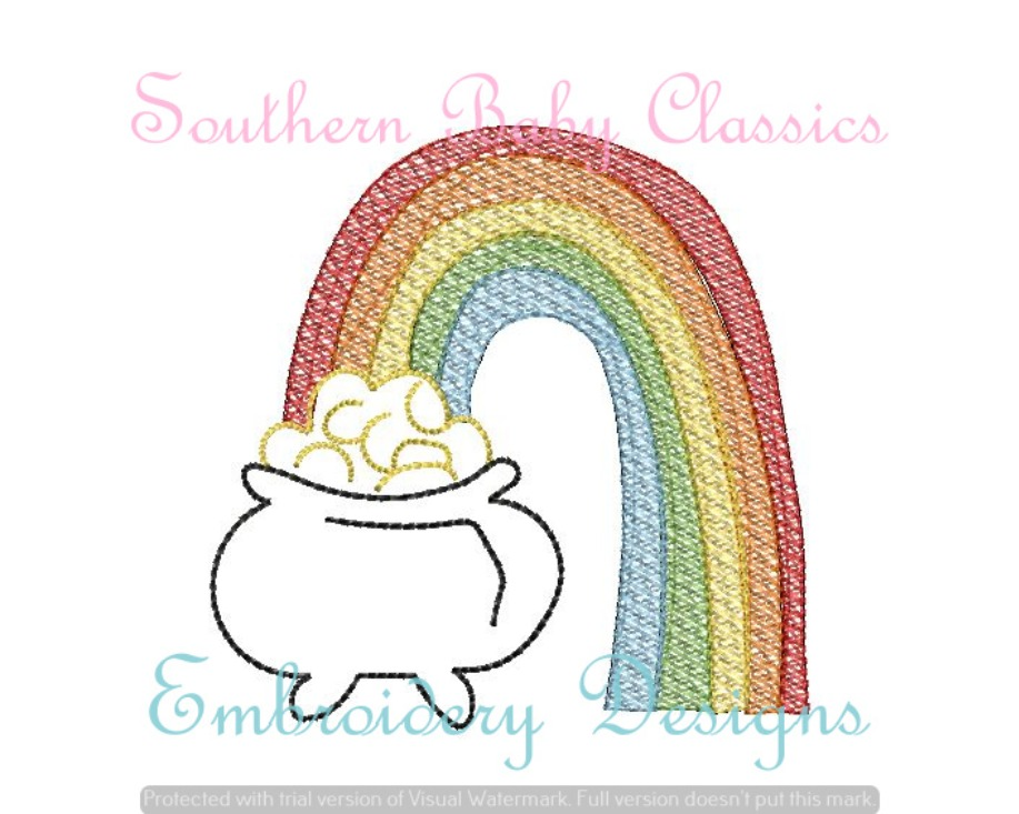Rainbow Pot of Gold Sketchy Fill Machine Embroidery Design Coins St Patrick's Day Patrick