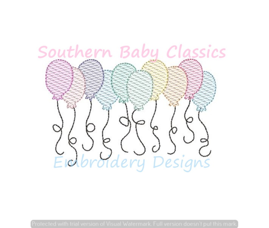 Birthday Balloons Sketchy Light Fill Machine Embroidery Design Happy Party Balloon Row