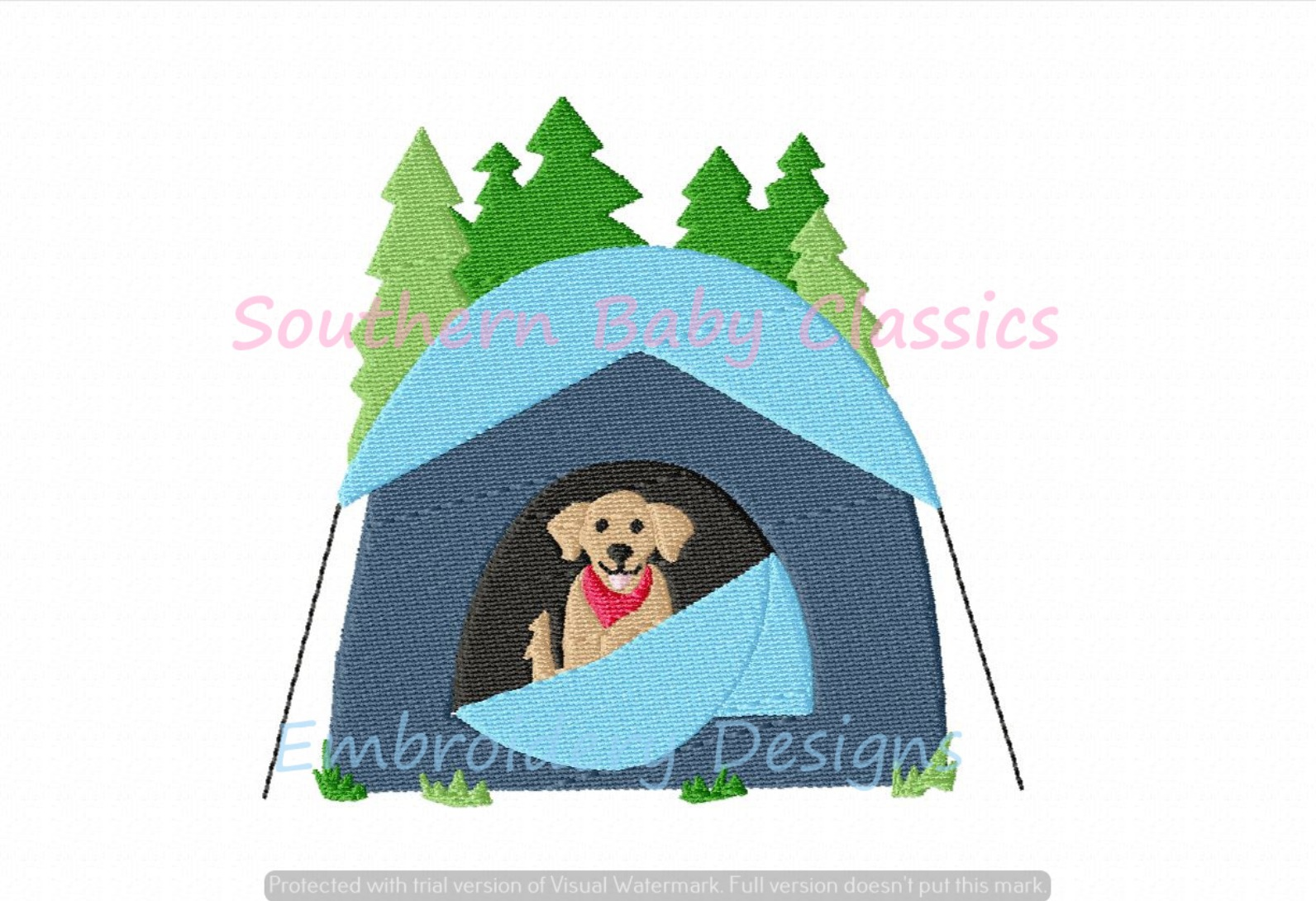 Camping Dog Fill Machine Embroidery Design Camp Tent Golden Retriever Summer Vacation