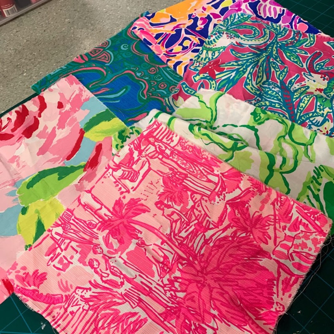 """Lilly Pulitzer Fabric Grab Bag #6 6 Pieces All Guaranteed to be at least 10""""x10"""""""