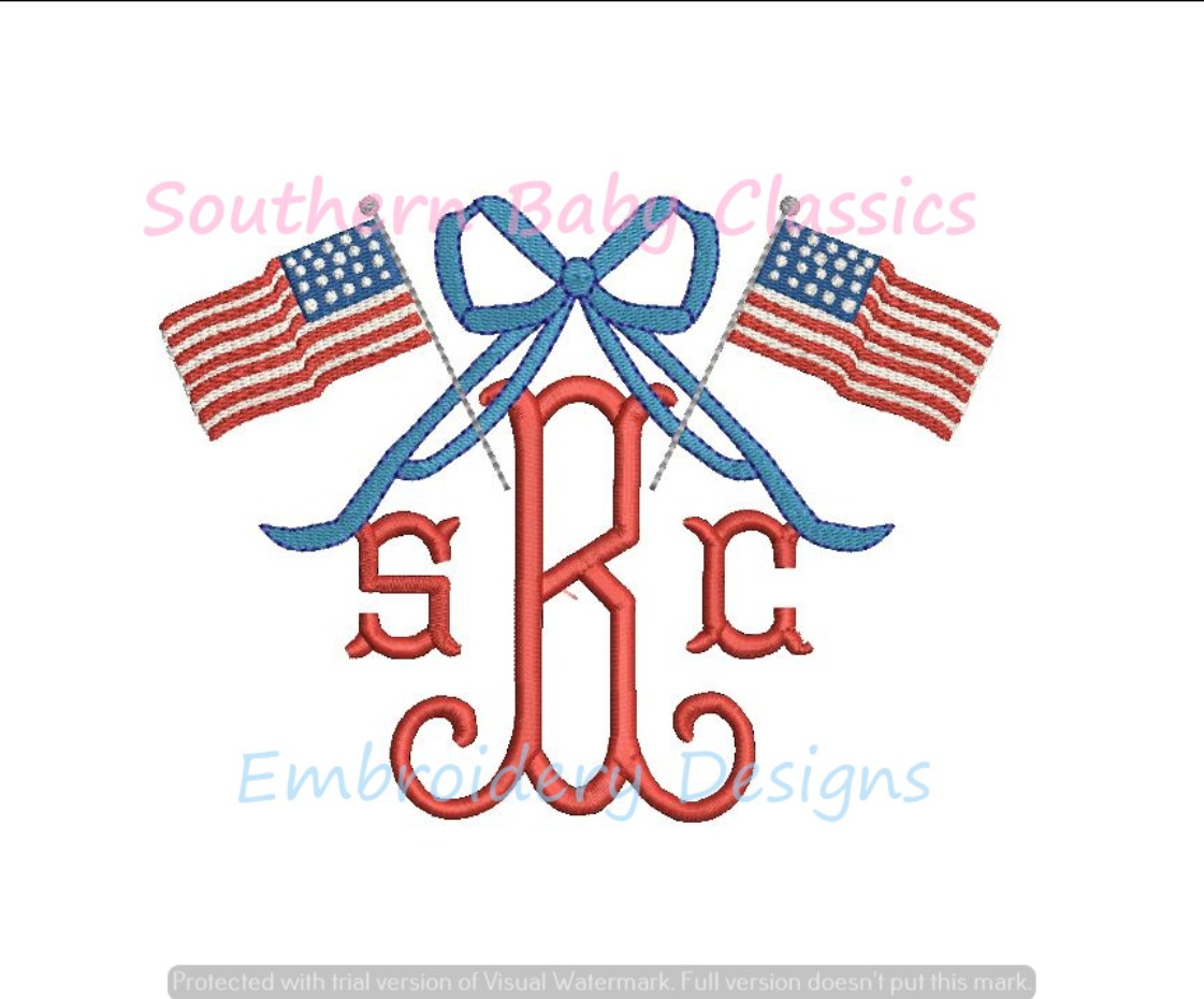 American Flag Monogram Bow Topper Machine Embroidery Design Fourth of July 4th Independence Day