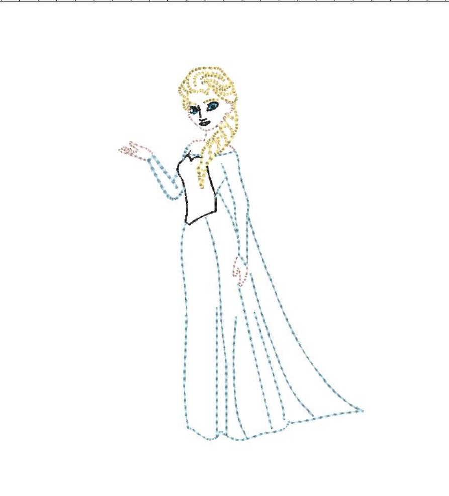 Ice Queen Froze Vintage Stitch Machine Embroidery Design Character