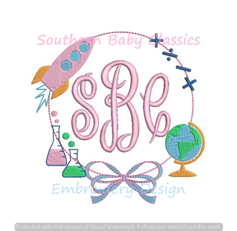 Science and Math with a Bow Machine Embroidery Design Back To School Rocket Globe Chemistry