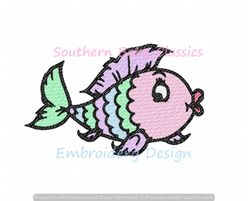 Rainbow Fish Sketchy Fill Quick Stitch Machine Embroidery Design Girl Fishing Summer