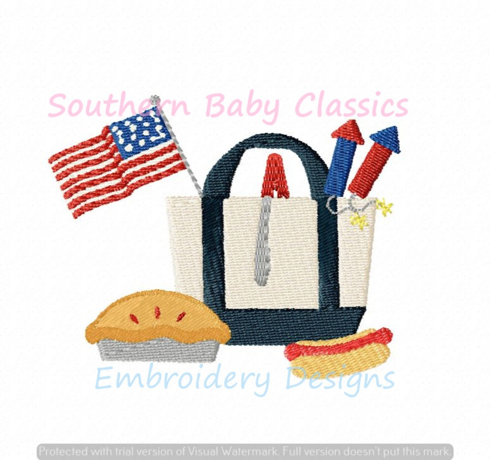 Fourth 4th of July Independence Day Boat Canvas Tote Bag Machine Embroidery Design Patriotic Summer