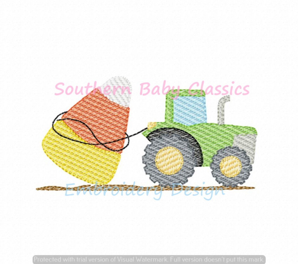 Tractor Pulling Candy Corn Machine Embroidery Design Halloween Light Sketchy Fill Fall Autumn
