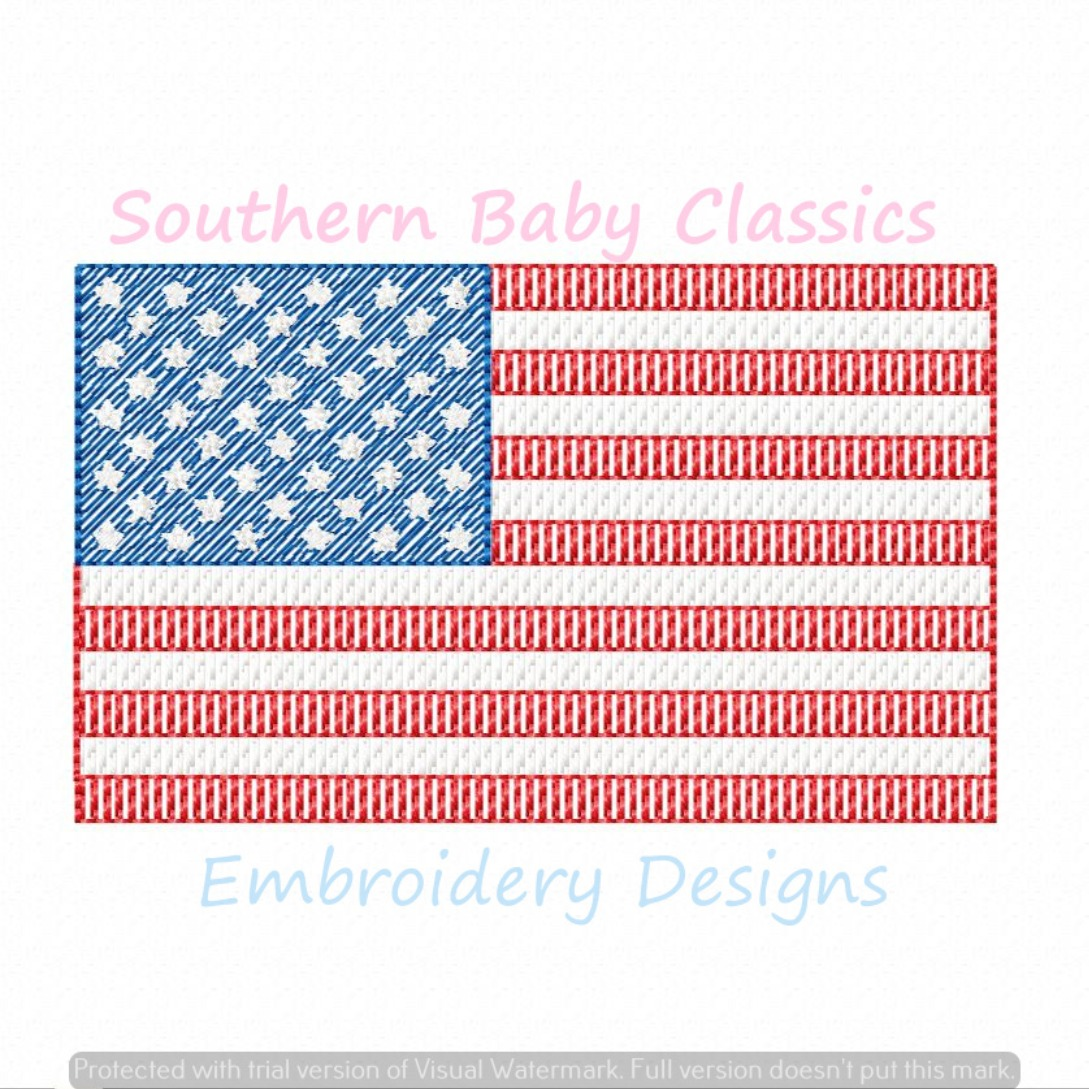 American Flag Light Sketchy Fill Machine Embroidery Design Patriotic Fourth of July Memorial Day