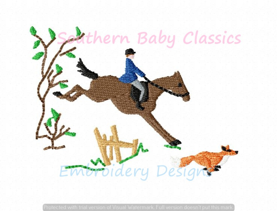 Fox Hunt Horse Jump Machine Embroidery Design Hunting Jumping Riding