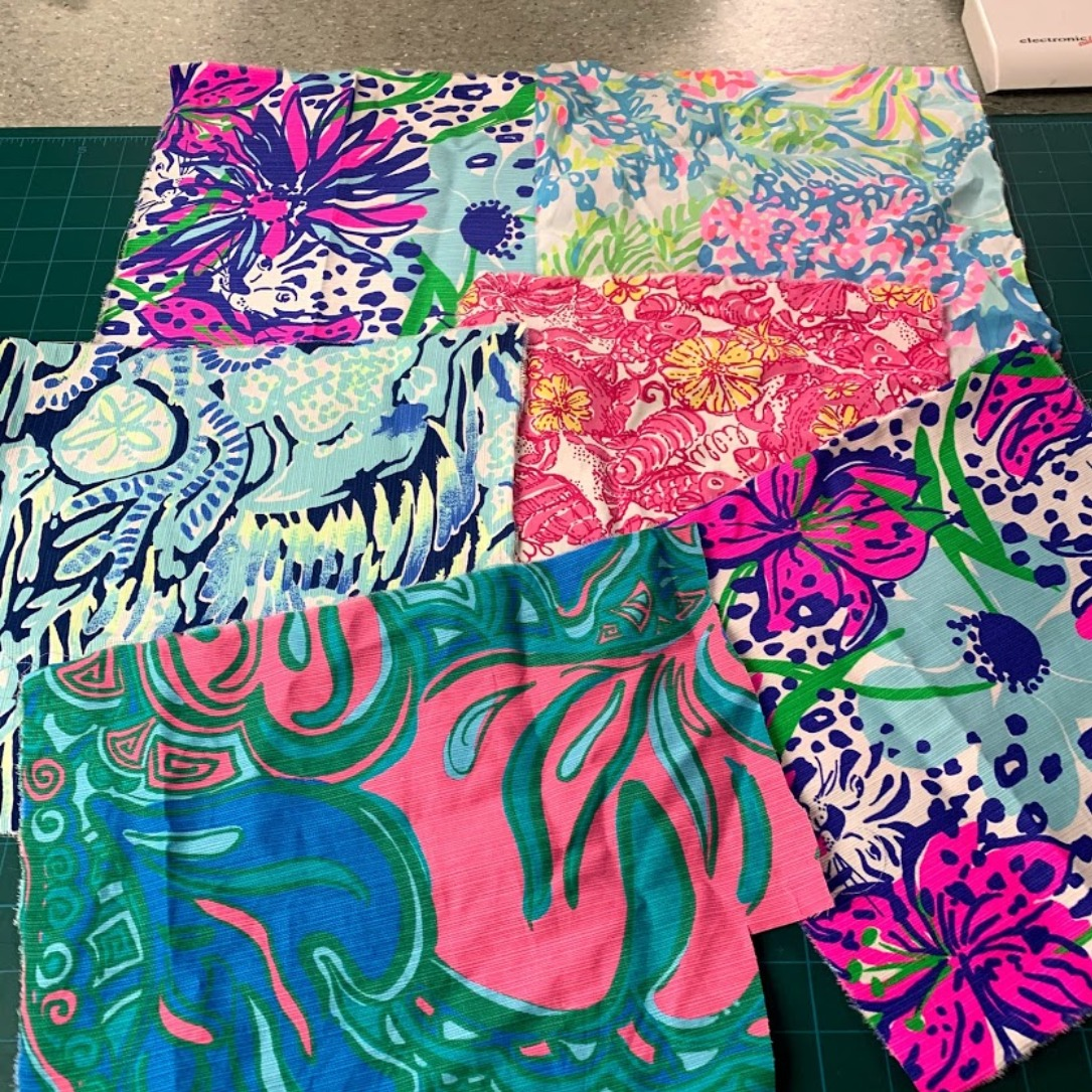 """Lilly Pulitzer Fabric Grab Bag #2 6 Pieces All Guaranteed to be at least 10""""x10"""""""