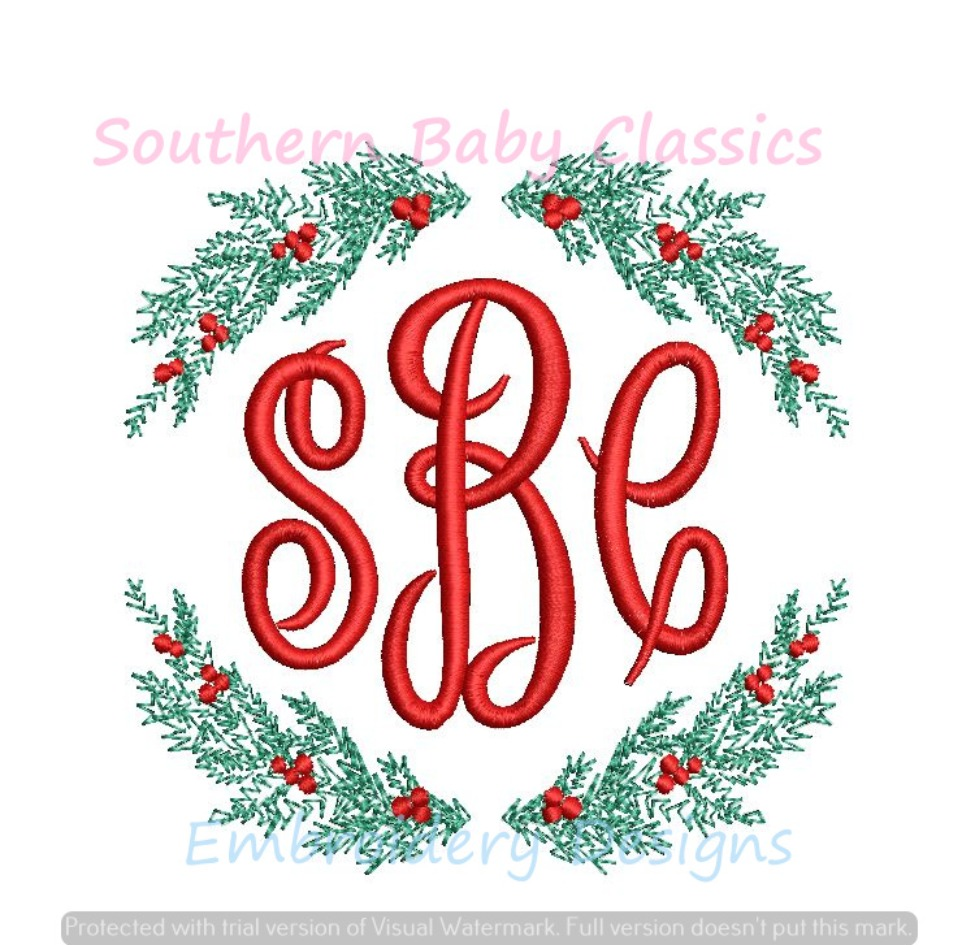 Christmas Wreath with Berries Monogram Frame Machine Embroidery Design Boy Girl
