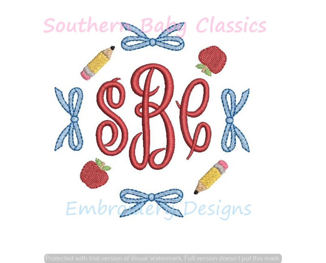 Apple Pencil Bow Circle Monogram Frame Back to School Machine Embroidery